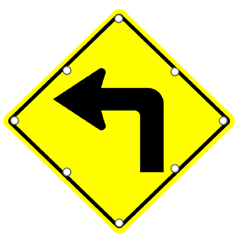 W1-1L Left Curve Sign