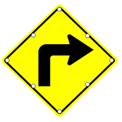 W1-1R Right Curve Sign