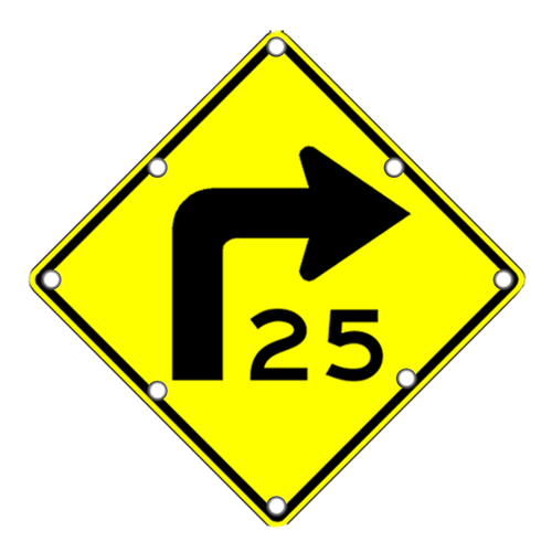 W1-1AR Right Curve Sign