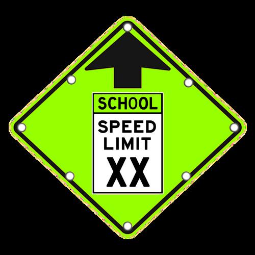 School Speed Limit Ahead Sign