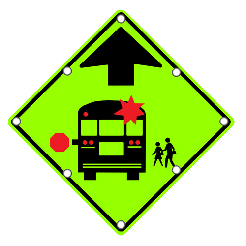 S3-1 School Bus Stop Ahead