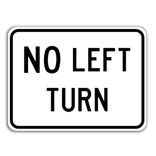 R3-2P No Left Turn Sign