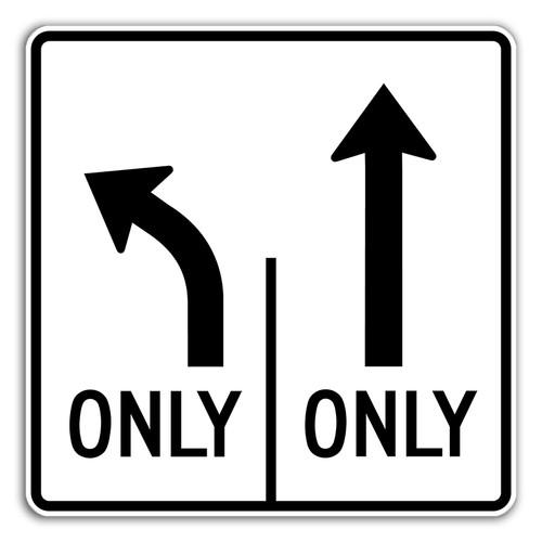 R3-8LT Left Only Thru Only Sign