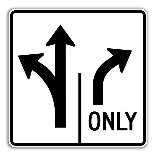 R3-8LTRO Left/Thru Right Only Sign