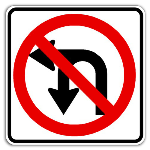 R3-18 No U/Left Turn Sign