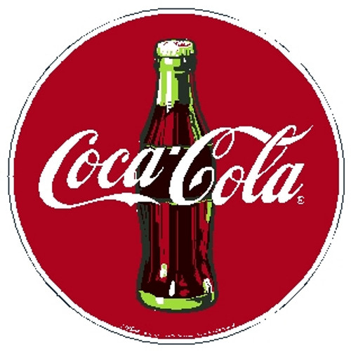 """red white and brown sign, circle shape, features """"Coca-Cola"""" and a coke bottle"""