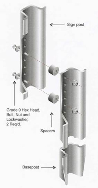 Base-Bolted Steel Sign Post Break-away System
