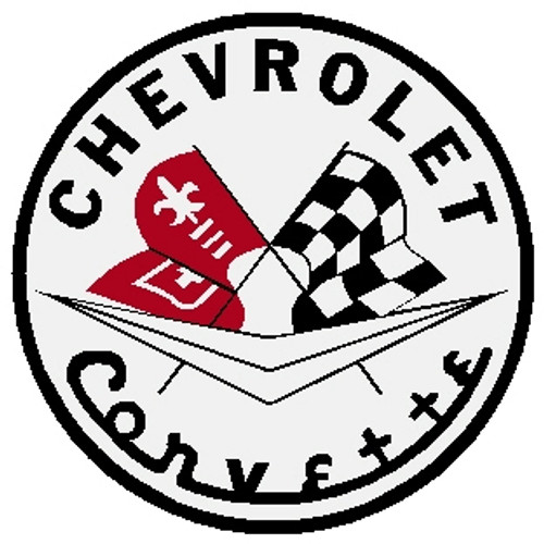 "circle shape, white red and black sign, ""Chevrolet Corvette"""