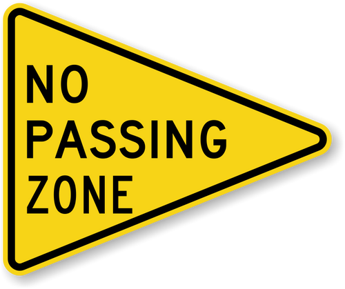 NO PASSING ZONE PENNANT