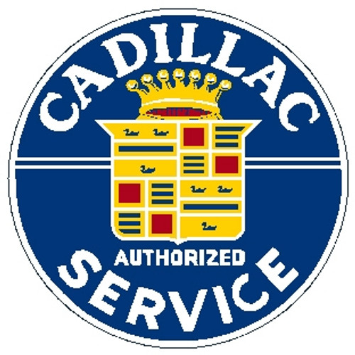 """circle shape, blue yellow and red sign, """"Cadillac Service"""""""