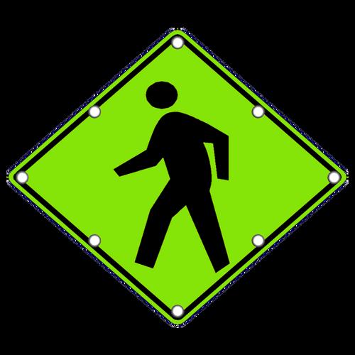 Flashing LED W11-2 Pedestrian Crossing Sign YG