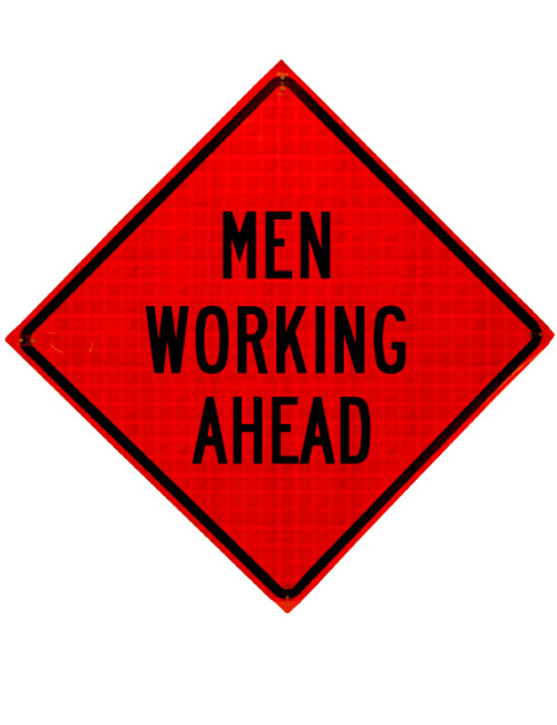MEN WORKING AHEAD ROLL UP SIGN