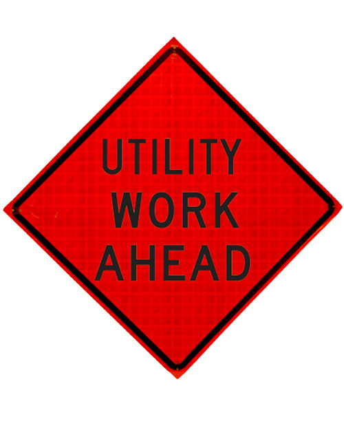 w21-7 utility work ahead roll up sign