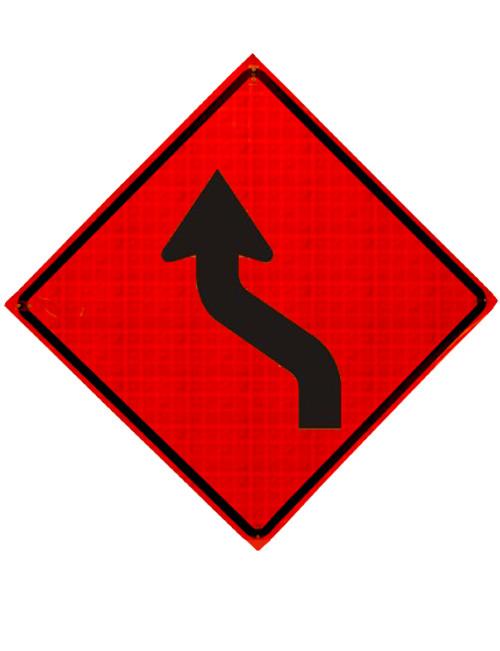 W1-4L REVERSE CURVE ARROW SYMBOL LEFT ROLL UP SIGN