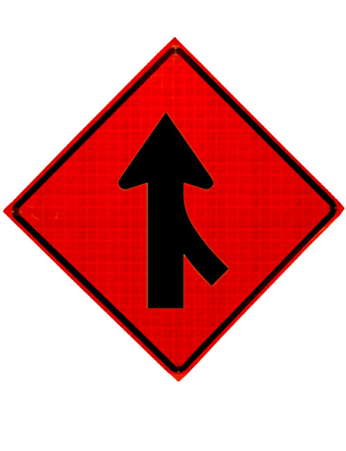 w4-1r right lane merge symbol roll up sign