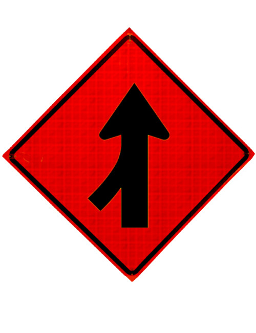 left lane merge roll up sign