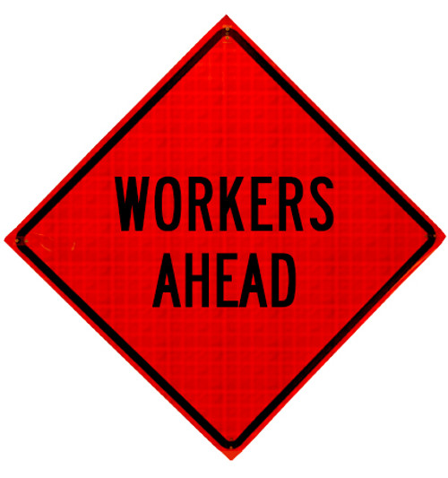 workers ahead roll up sign