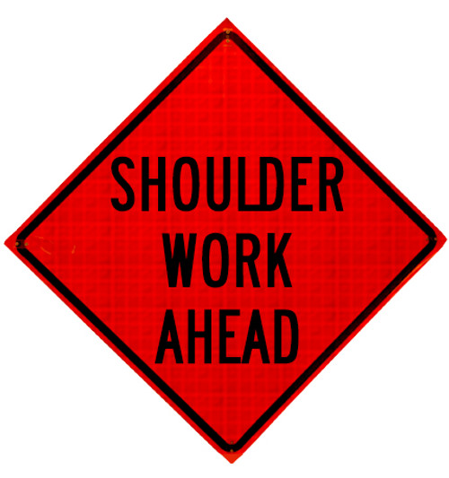 shoulder work ahead roll up sign