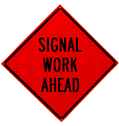 signal work ahead roll up sign