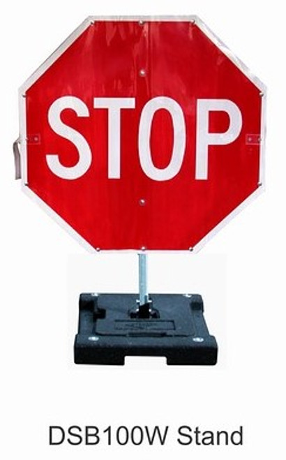 Temporary STOP sign with rubber base