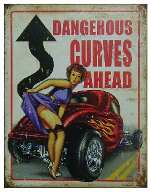 """circle shape, red white and blue sign, """"Dangerous curves ahead"""""""