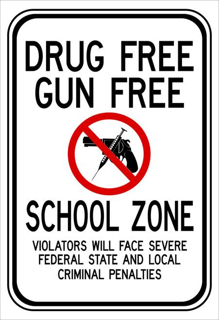 red black and white rectangular 3M High Intensity Prismatic 12x18 DRUG FREE GUN FREE