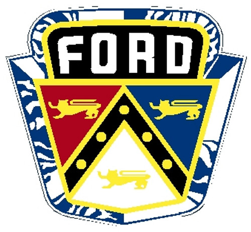 "rectangular shape, red, yellow, white and blue sign, ""Ford"""