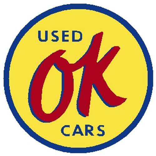 "circle shape, yellow blue and red sign, ""OK used cars"""