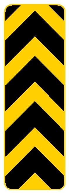 rectangular yellow and black sign features upward chevrons