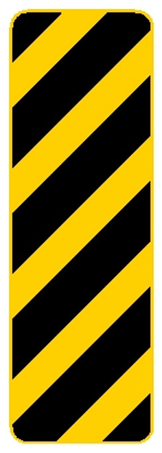 Rectangular sign, yellow and black sign,features diagonal black and yellow lines