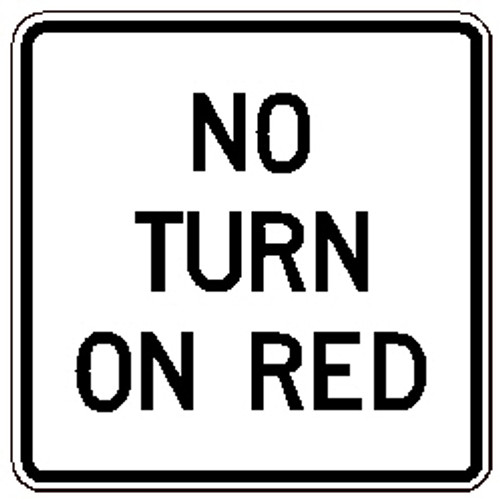 "Black and White ""No Turn On Red"" Sign, 24"" x 24"", High Intensity Prismatic Reflective"