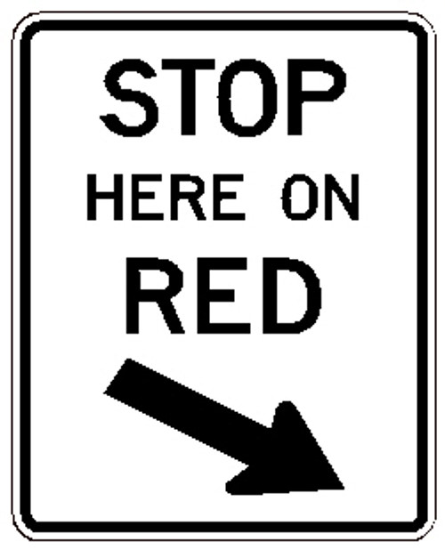 "Black and White ""Stop Here on Red"" Sign, 24"" x 36"", High Intensity Prismatic Reflective"
