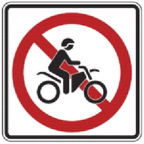 "Black, Red, and White ""No Dirtbikes"" Sign, 18"" x 18"", High Intensity Prismatic Reflective"