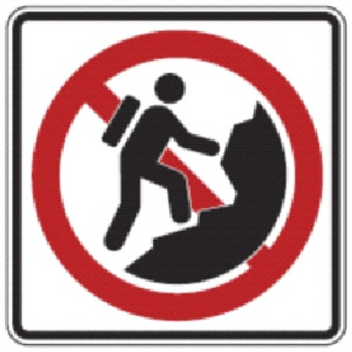 "Black, Red, and White ""No Rock Climbing"" Sign, 18"" x 18"", High Intensity Prismatic Reflective"