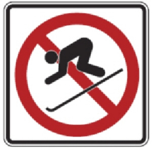 "Black, Red, and White ""No Skiing"" Sign, 18"" x 18"", High Intensity Prismatic Reflective"