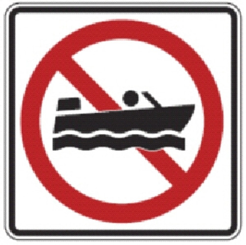 "Black, Red, and White ""No Boating"" Sign, 18"" x 18"", High Intensity Prismatic Reflective"