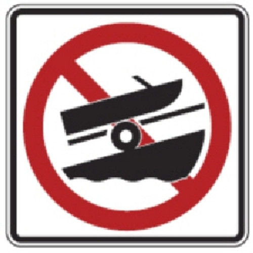 "Black, Red, and White ""No Towing Boats"" Sign, 18"" x 18"", High Intensity Prismatic Reflective"