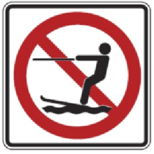 "Black, Red, and White ""No Wakeboarding"" Sign, 18"" x 18"", High Intensity Prismatic Reflective"