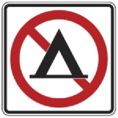 "Black, Red, and White ""No Camping"" Sign, 18"" x 18"", High Intensity Prismatic Reflective"