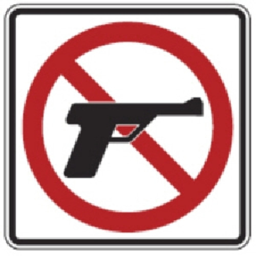 "Black, Red, and White ""No FIrearms"" Sign, 18"" x 18"", High Intensity Prismatic Reflective"