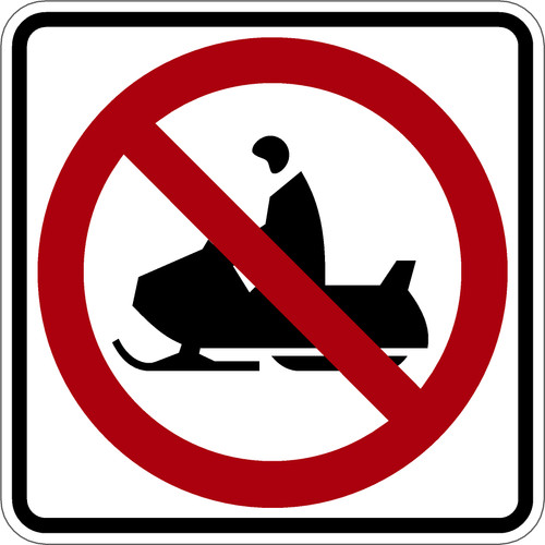 "Black, Red, and White ""No Snowmobile"" Sign, 18"" x 18"", High Intensity Prismatic Reflective"