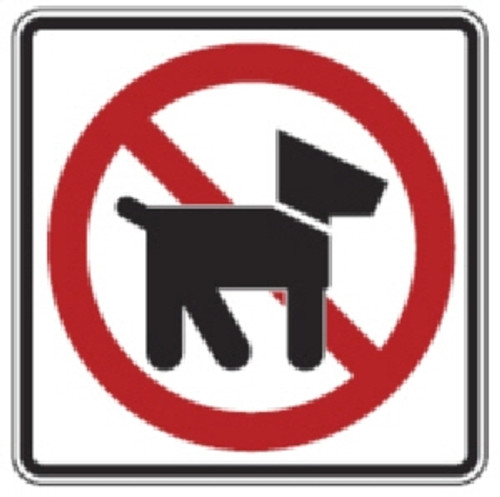 "Black, Red, and White ""No Dogs"" Sign, 18"" x 18"", High Intensity Prismatic Reflective,"