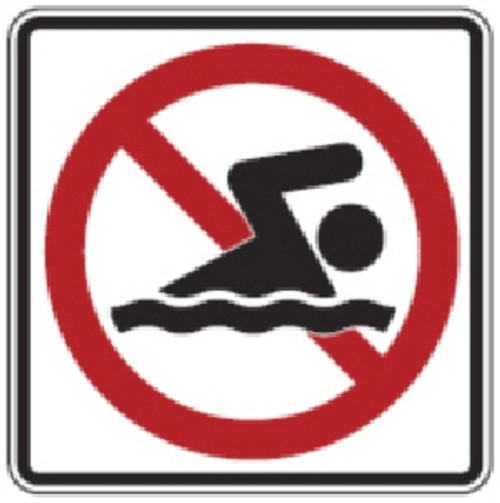 "Black, Red, and White ""No Swimming"" Sign, 18"" x 18"", High Intensity Prismatic Reflective,"