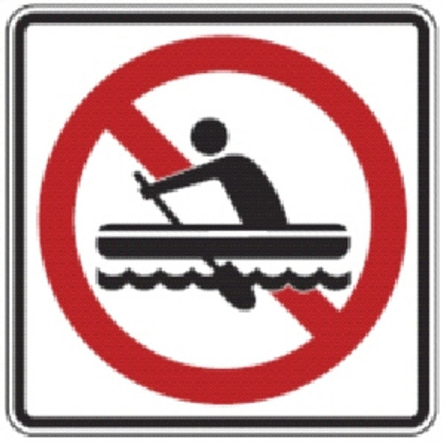 "Black, Red, and White ""No Row Boating"" Sign, 18"" x 18"", High intensity Prismatic Reflective"