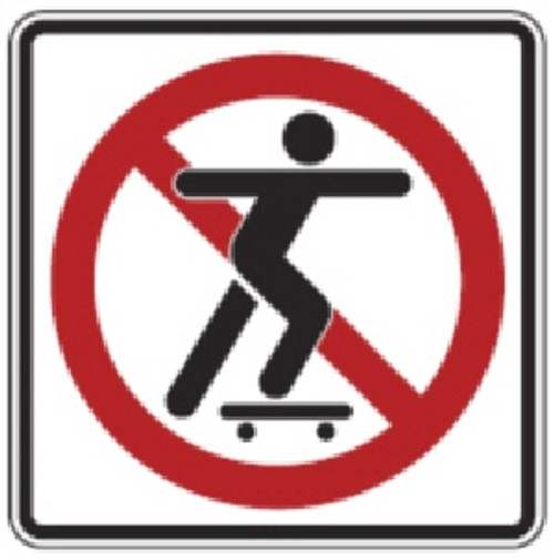 "Black, Red, and White ""No Skateboard"" sign,  18"" x 18"", High Intensity Prismatic Reflective"