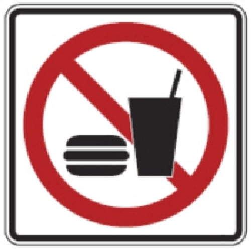 "Black, Red, and White ""No Food Or Drink"" Sign, 18"" x 18"", High Intensity Prismatic Reflective"