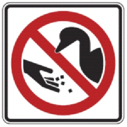 "Black, Red, and White ""Don't Feed Ducks"" Sign"" 18"" x 18"", High Intensity Prismatic Reflective"