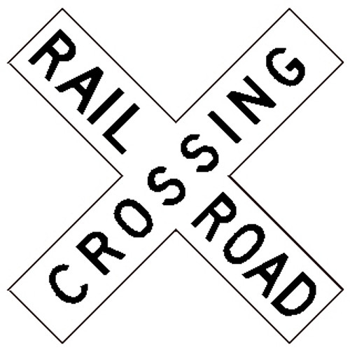 "Black and White ""Railroad Crossing"" 48"" x 9"", High Intensity Prismatic Reflective"