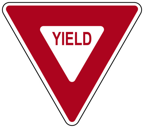 "Red and White ""Yield"" Sign, 36"" x 36"", High Intensity Prismatic Reflective"