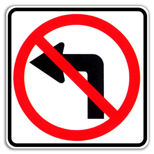 "Black, Red, and White ""No Left Turn"" Sign, 24"" x 24"", High Intensity Prismatic Reflective"
